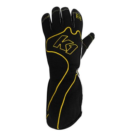 k1 race gear rs1 reverse stitch kart racing gloves (yellow/black, xx-small) ()
