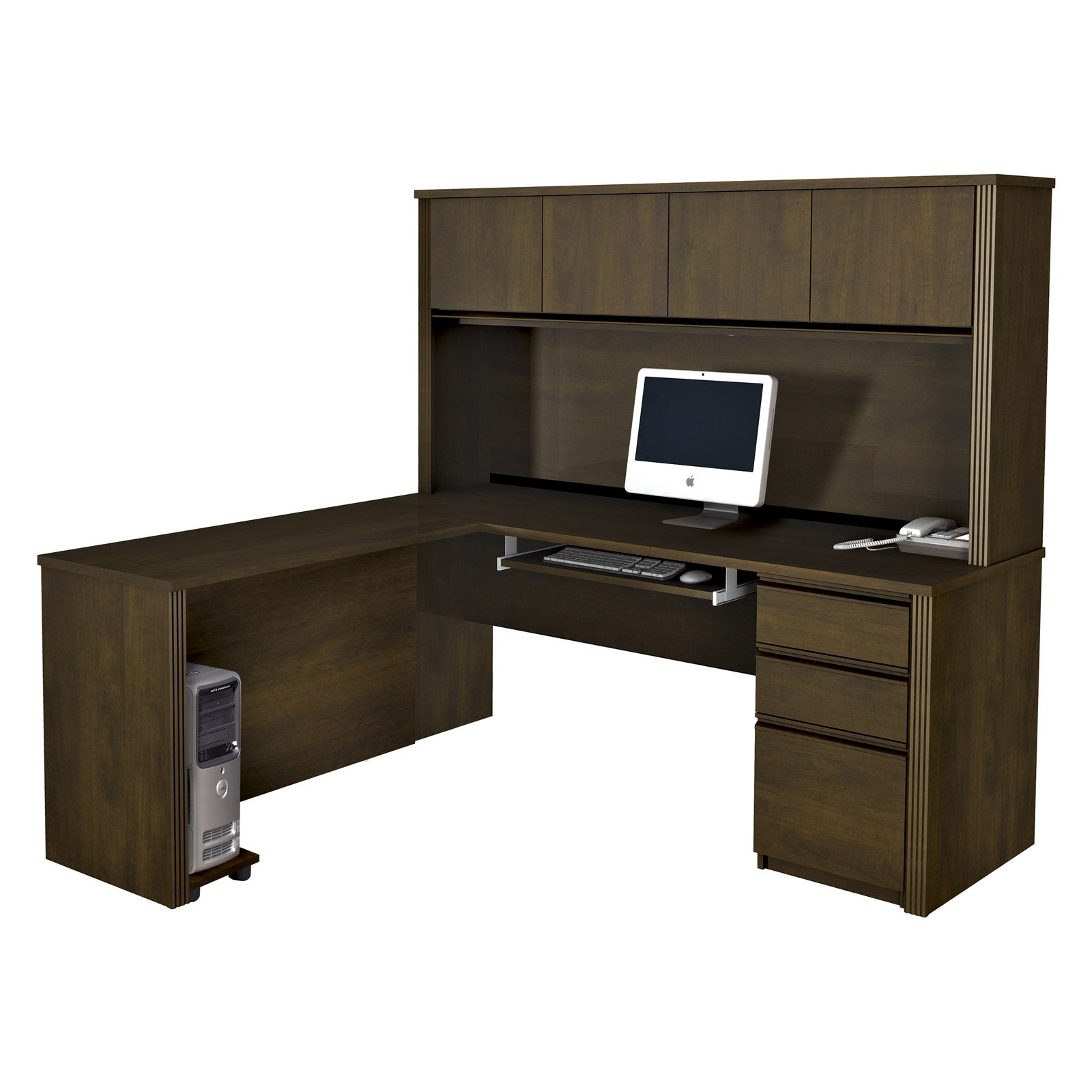 Bestar Prestige L-Shaped Workstation with Hutch and Single Pedestal - Chocolate