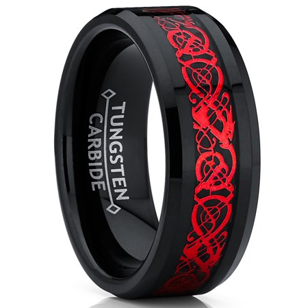 Men's Ring Wright Co. Black Tungsten Carbide Red Dragon Ring Wedding Band Black Carbon Fiber Comfort Fit - Dragon Ring Jewelry