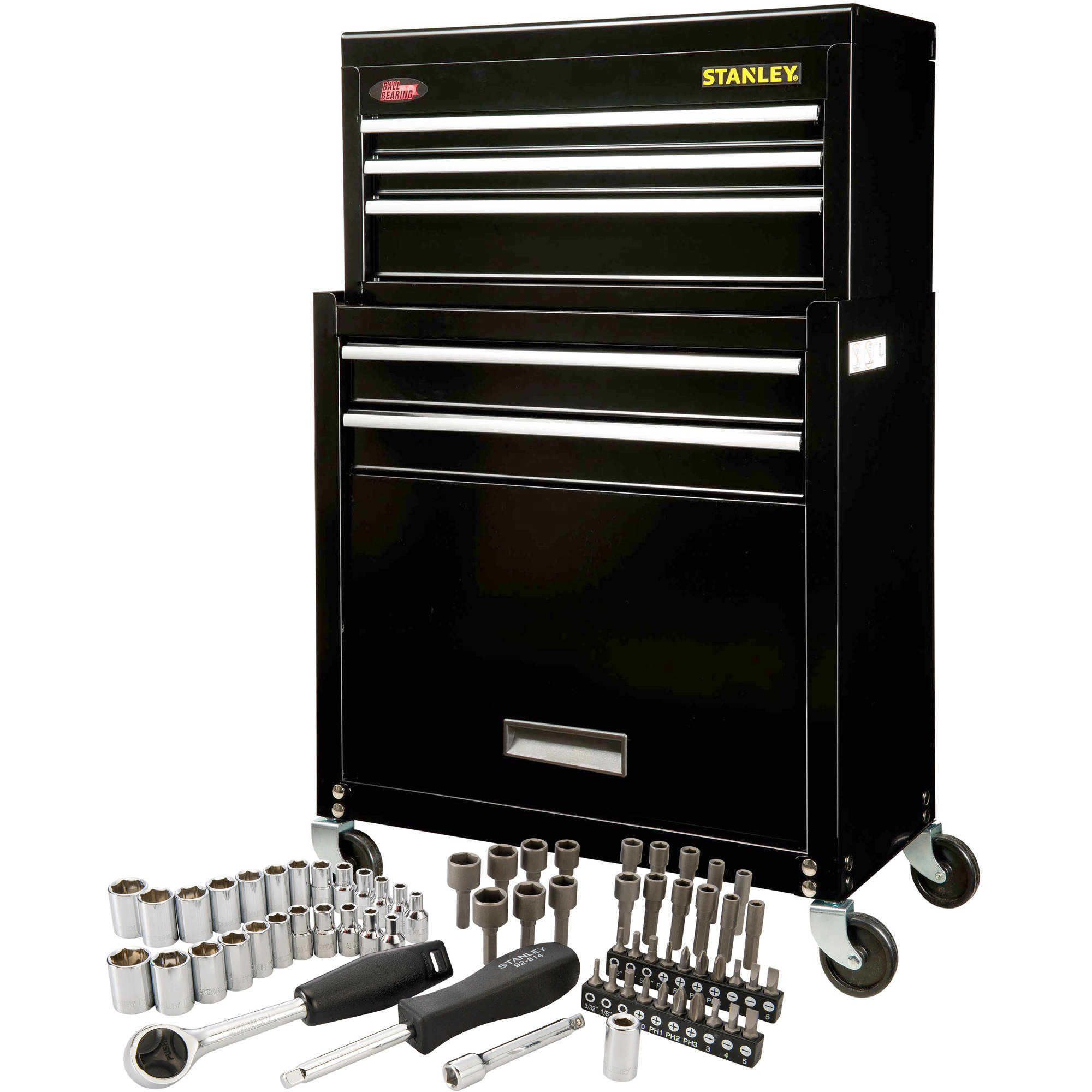 Stanley Rolling Tool Chest With Bonus 68 Piece Mechanic Set   Walmart.com