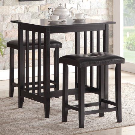 roundhill furniture 3 piece counter height dining set with saddleback stools white. Black Bedroom Furniture Sets. Home Design Ideas