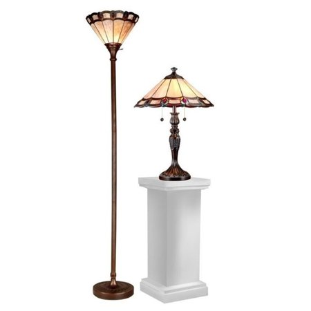 Dale Tiffany Peacock - Dale Tiffany Peacock Lamp Set
