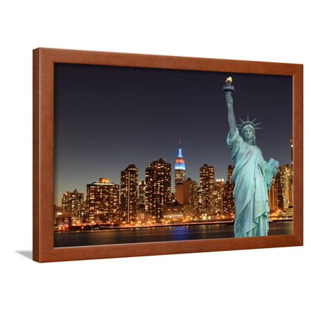Midtown Manhattan Skyline and the Statue of Liberty at Night, New York City Framed Print Wall Art By Zigi