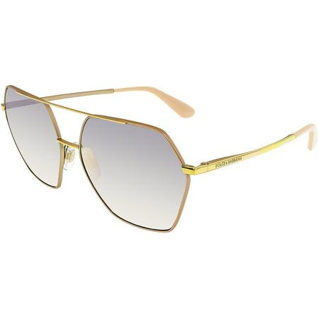 Dolce & Gabbana Women's Mirrored DG2157-12945R-59 Gold Aviator Sunglasses - image 1 de 1