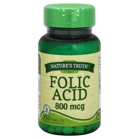 800 Mcg 120 Tabs (Nature's Truth Folic Acid 800 Mcg 250 Tabs, 250 Count )