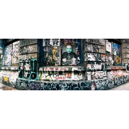 Graffiti covered Germania Bank Building on Bowery Street Soho Manhattan New York City New York State USA Stretched Canvas - Panoramic Images (30 x 12) (Soho New Jersey)