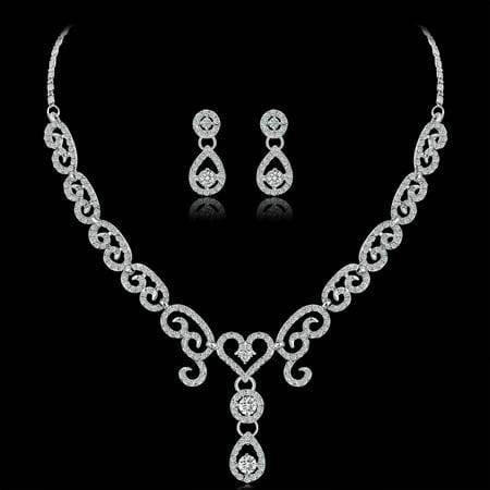 Women Girls Jewelry Set Fashion Heart Sharp Pendant Rhinestone Necklace + Earrings Valentine's Day Gift - image 6 of 8