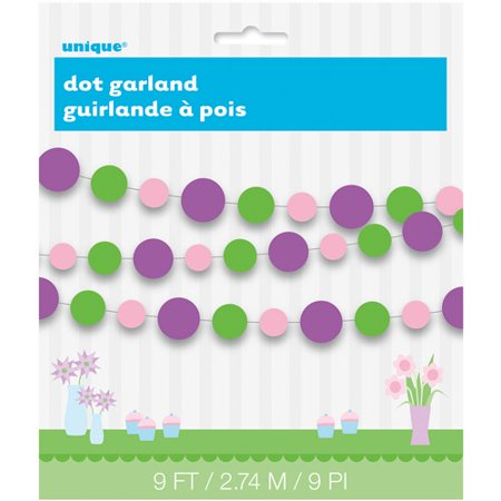 9' Purple and Green Polka Dots Paper Garland