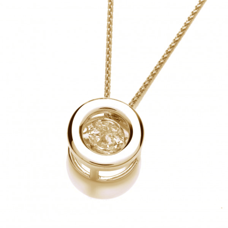Elegant Natural .10 Carat Dancing Diamond Pendant Necklace In 14K Yellow Gold (10 Carat Charms)