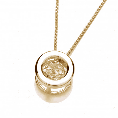 Elegant Natural .10 Carat Dancing Diamond Pendant Necklace In 14K Yellow Gold
