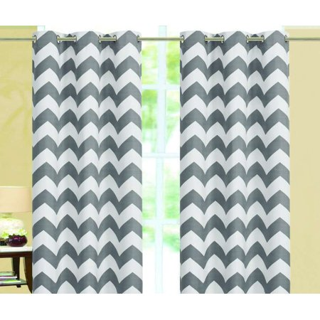 Chevron Insulated 100% Thermal Blackout Grommet Window Curtain 84