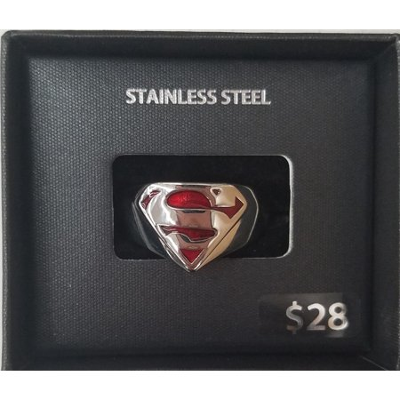 Comics Steel Superman Logo Ring Sz 12