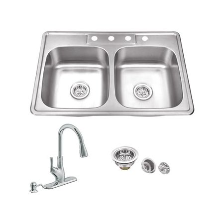 Soleil 33 L X 22 W Double Bowl Drop In Stainless Steel Kitchen