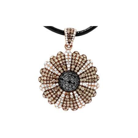 18k White Gold Pave Diamond Pendant (2 3/8ct Vintage Pave Chocolate Diamond Pendant 18K Rose)