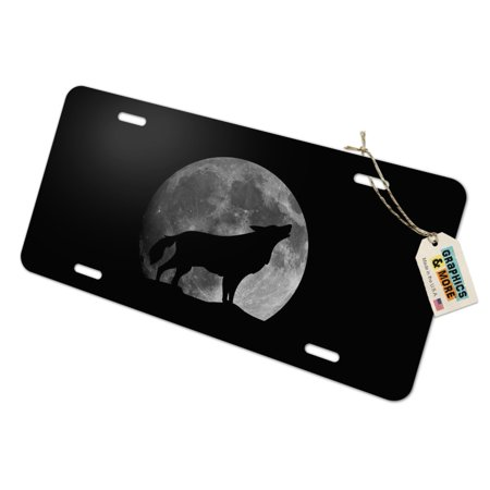 Wolf Howling Moon Silhouette Novelty Metal Vanity Tag License -