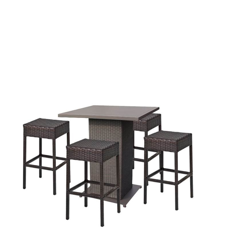 5 Piece Patio Pub Set with Pub Table and Set of 4 Bar Stool