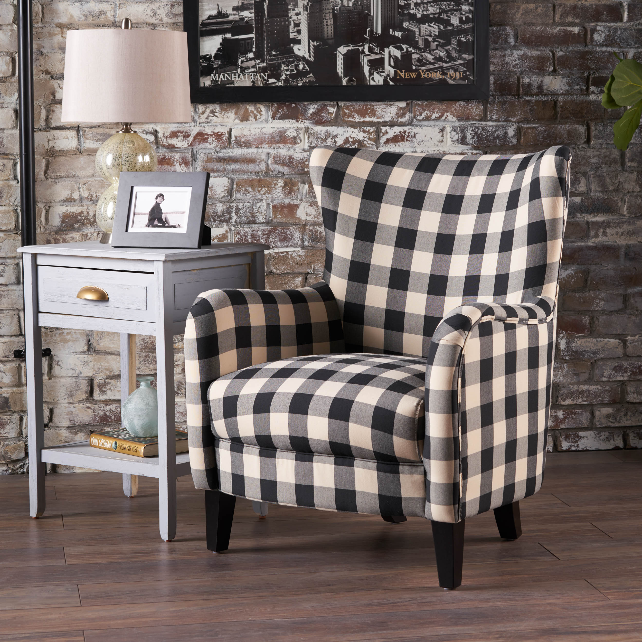 Le House Plaid Fabric Club Accent