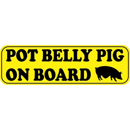 10in x 3in Pot Belly Pig on Board Magnet Vinyl Bumper Magnets