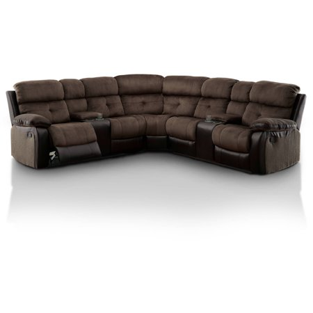 Furniture of America Tristen Two-Tone Reclining Sectional, Brown & - Leggett Sectional Recliner