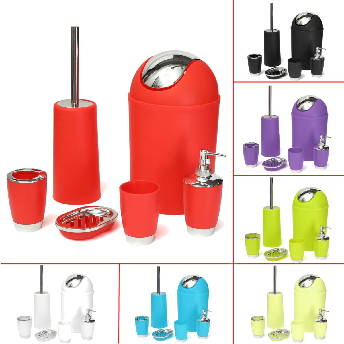 6pcs set bathroom accessory bin soap dish dispenser tumbler toothbrush holder purple color