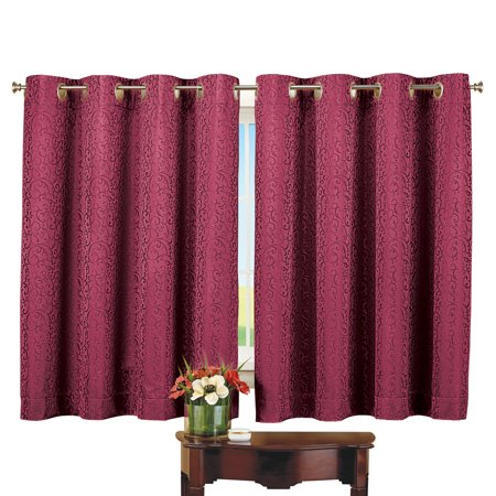Thermal Insulated Scroll Pattern Short Curtain Panel Energy Saving And Noise Reducing Curtains For Any Room In Home