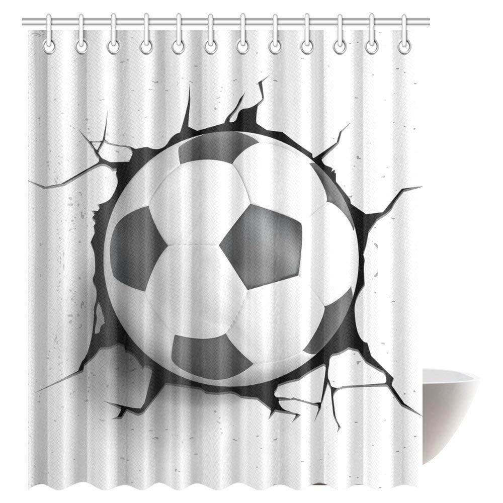 GCKG Sports Decor Shower Curtain Football Soccer Ball Polyester