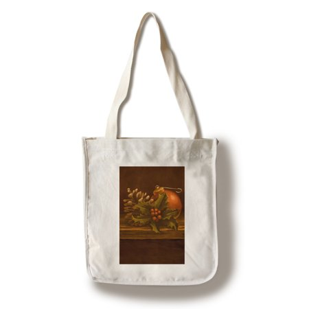 Screen Printing Tote Bags - Holly & Ornament - Christmas Oil Painting - Lantern Press Artwork (100% Cotton Tote Bag - Reusable)