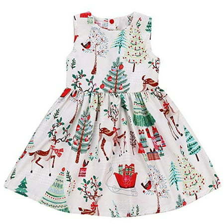 Xmas Dress for 6T Kid Girls Cartoon Xmas Dress Sleeveless Maxi Dress Christmas Trees Xmas Gift Deer Dress](Christmas Dresses For Children)