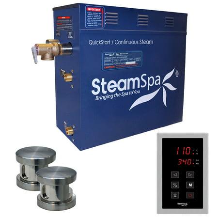 SteamSpa 10.5 KW QuickStart Acu-Steam Bath Generator Package,Brushed (Aqualisa Quartz 10-5 Kw Electric Shower Chrome)