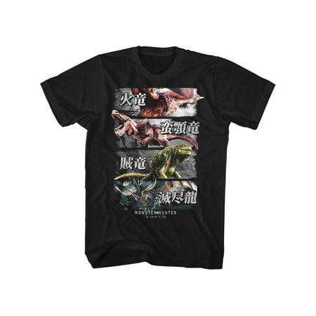 - Monster Hunter Gaming 4 Monsters Adult Short Sleeve T Shirt