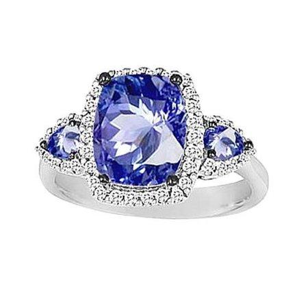 Harry Chad Enterprises 34223 7.26 CT 3-Stone Style Ceylon Sapphire Cushion Diamonds Gold Ring - image 1 of 1