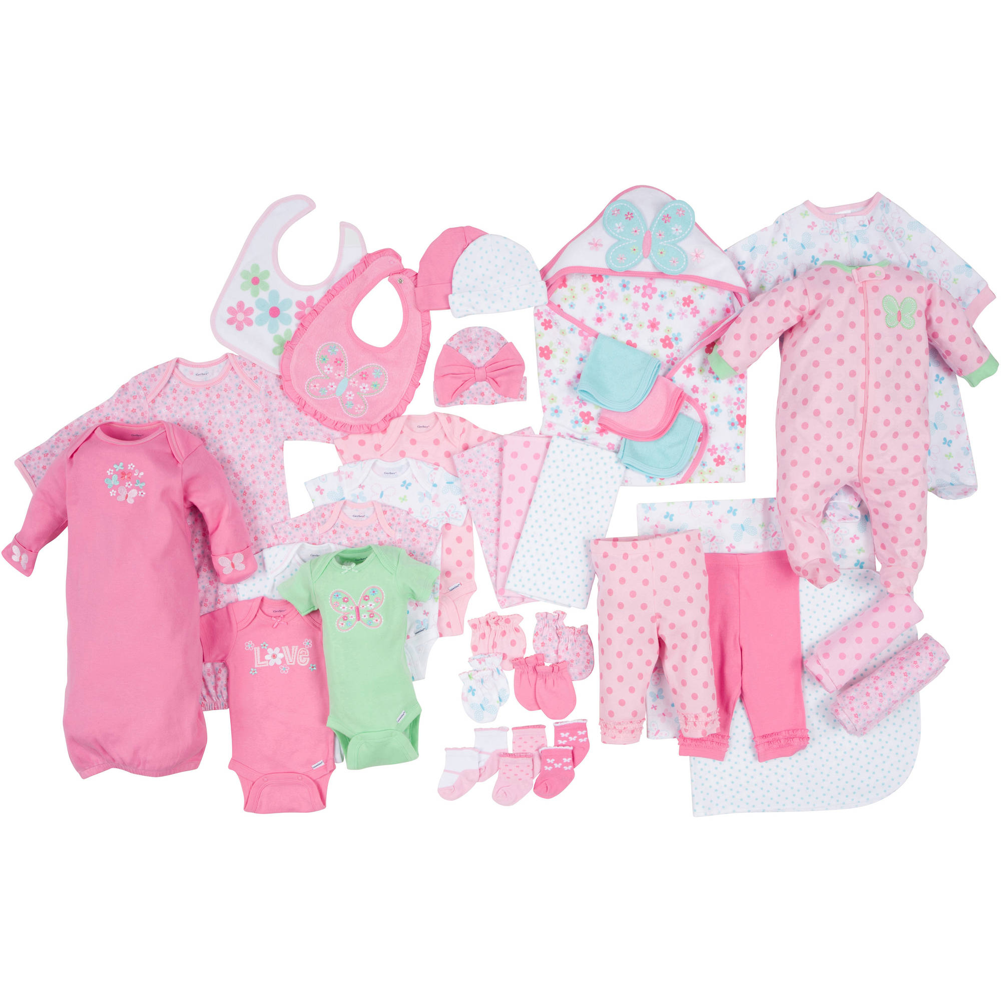 Gerber Newborn Baby Girl Perfect Baby Shower Gift Layette Set,  33-Piece