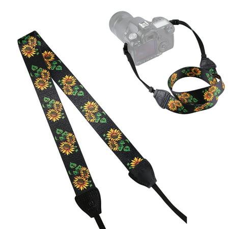 Girl12Queen Retro Ethnic Sunflower Shoulder Neck Strap for Canon Pentax Sony SLR/DSLR Camera