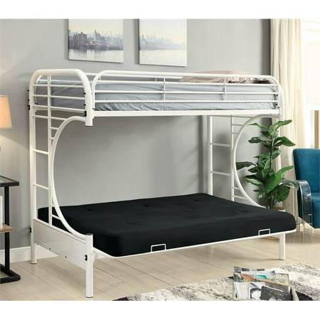 Furniture Of America Hayley Metal Twin Over Futon Bunk Bed In White