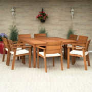 Amazonia Nelson 9-Piece Square Patio Dining Set | Eucalyptus Wood | Ideal for Outdoors and Indoors