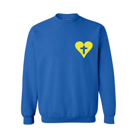 Awkward Styles Yellow Heart Unisex Crewnecks Christian Crewneck for Her Cross Clothes Collection Jesus Cross Crewneck for Women Jesus Sweater for Men Christian Gifts Cross Outfit for Men and Women