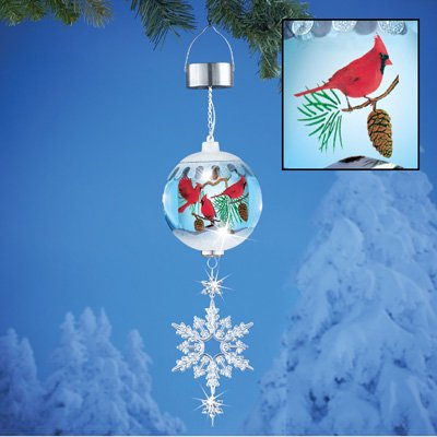 Beautiful Solar Lighted Cardinals Hanging Ornament, Outdoor Winter Decoration Sparkling Snowflakes ()