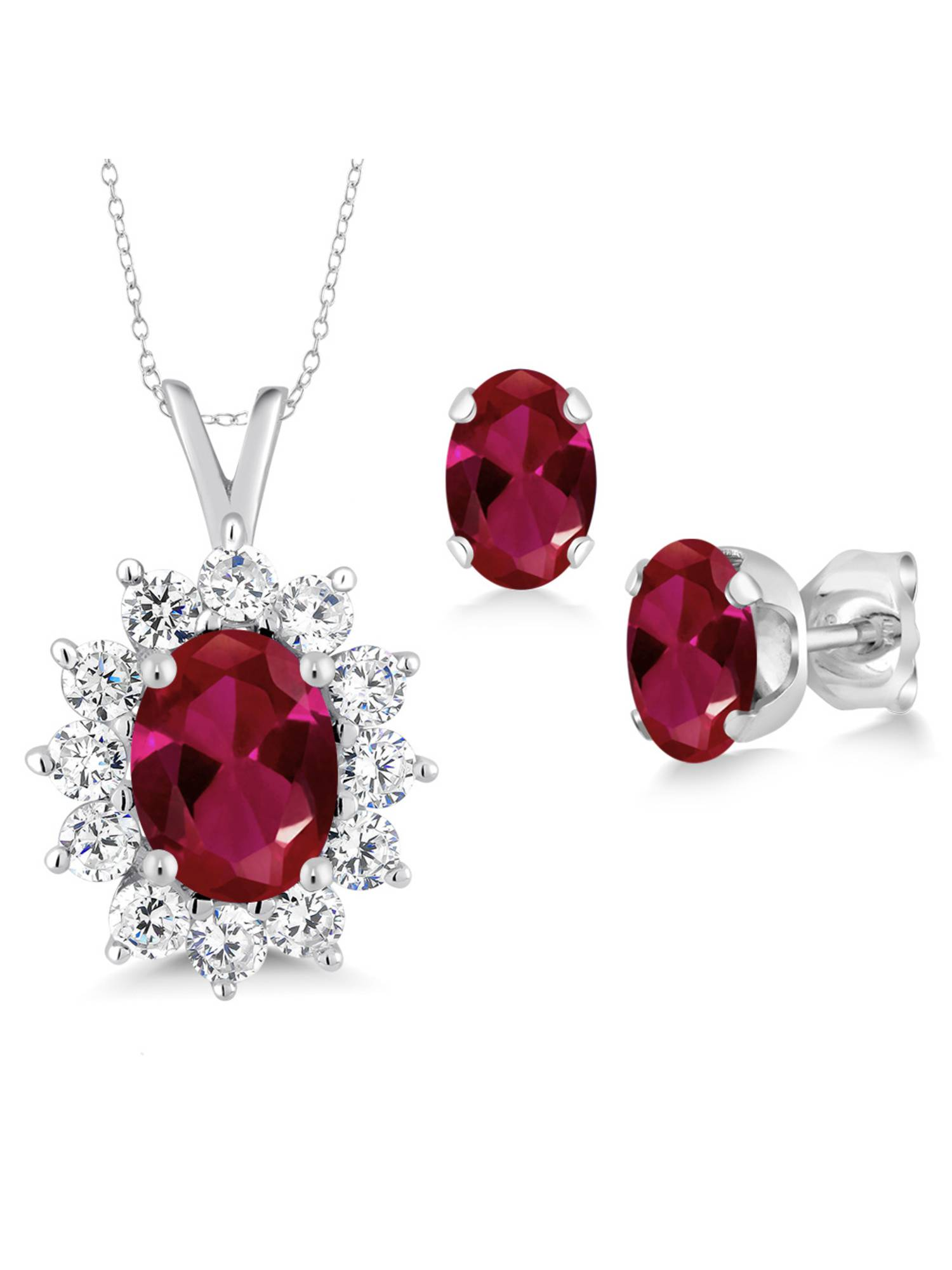 2.39 Ct Oval Red Created Ruby 925 Sterling Silver Pendant Earrings Set