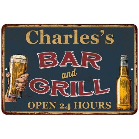 Charles's Green Bar and Grill Personalized Metal Sign 8 x 12 High Gloss Metal 208120044717
