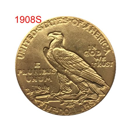 1908 Antique US Commemorative Old Coin Gold Plated Collectible Coin Crafts Art Souvenir Decorations (Old Italian Coins)