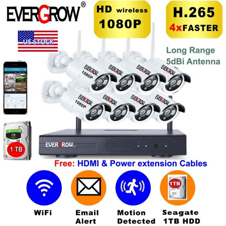 Advanced H265+ Technology Home Security Camera System 8CH 1080P NVR Wireless Wifi Outdoor IR Night Vision (CAM-WIFI-8CH-2MP)