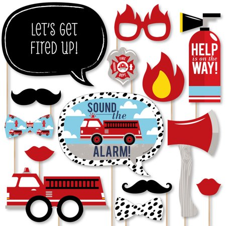 Fired Up Fire Truck - Firefighter Firetruck Baby Shower or Birthday Party Photo Booth Props Kit - 20 Count - Fire Truck Birthday Supplies