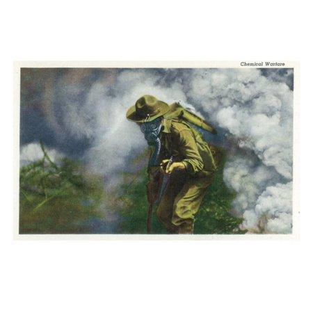 US Army - Soldier in Gas Mask, Chemical Warfare Print Wall Art By Lantern Press (Gap Press)