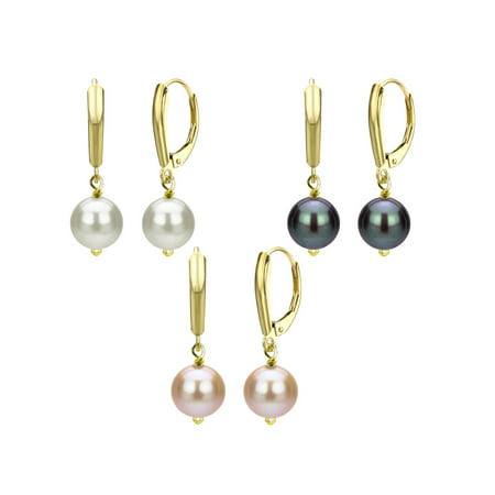 ADDURN Gift 9-10mm Freshwater Pearl 14kt Yellow Gold over Sterling Silver Three-Pair Lever Back Earring (Gorgeous Pearl Set)