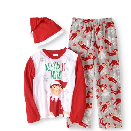 Elf on the Shelf Boys' or Girls' Unisex Family Sleep 3pc Pajamas Set with Hat - Matching Pajamas For The Family