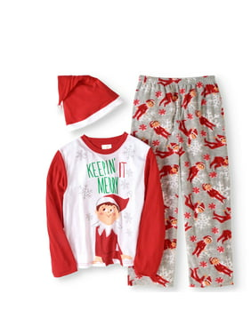 product image elf on the shelf boys or girls unisex family sleep 3pc pajamas set with