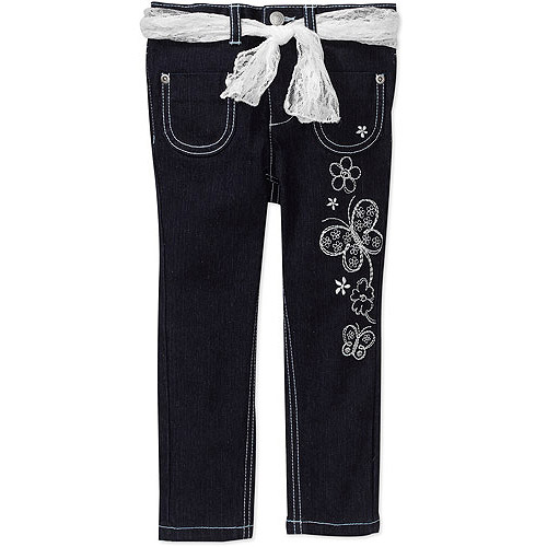 Faded Glory Baby Girls' Skinny Jean with Silver Sash