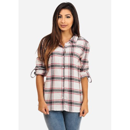 Womens juniors rayon plaid long sleeve button down shirt for Plaid button down shirts for women