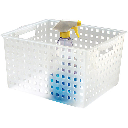 "InterDesign Modulon Household Storage Basket for Office, Garage, Bathroom and more, 14.2"" x 11.2"" x 8.5"", Frost"