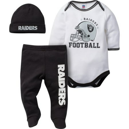 Nfl Oakland Raiders Baby Boys Bodysuit  Pant And Cap Outfit Set  3 Piece